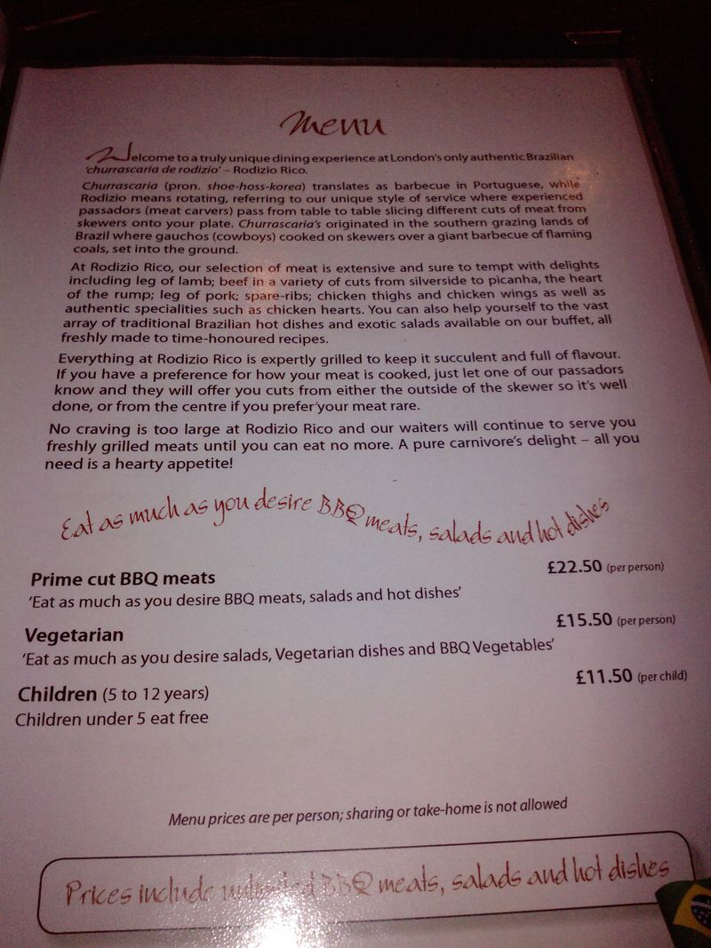 Rodizo menu